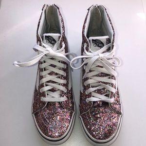 Vans pink glitter high top
